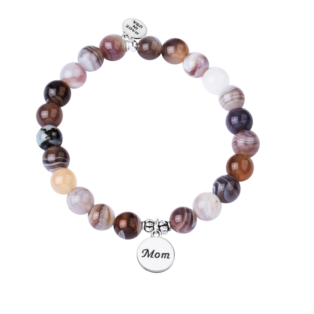 Mom | Stone Beaded Charm Bracelet | Botswana