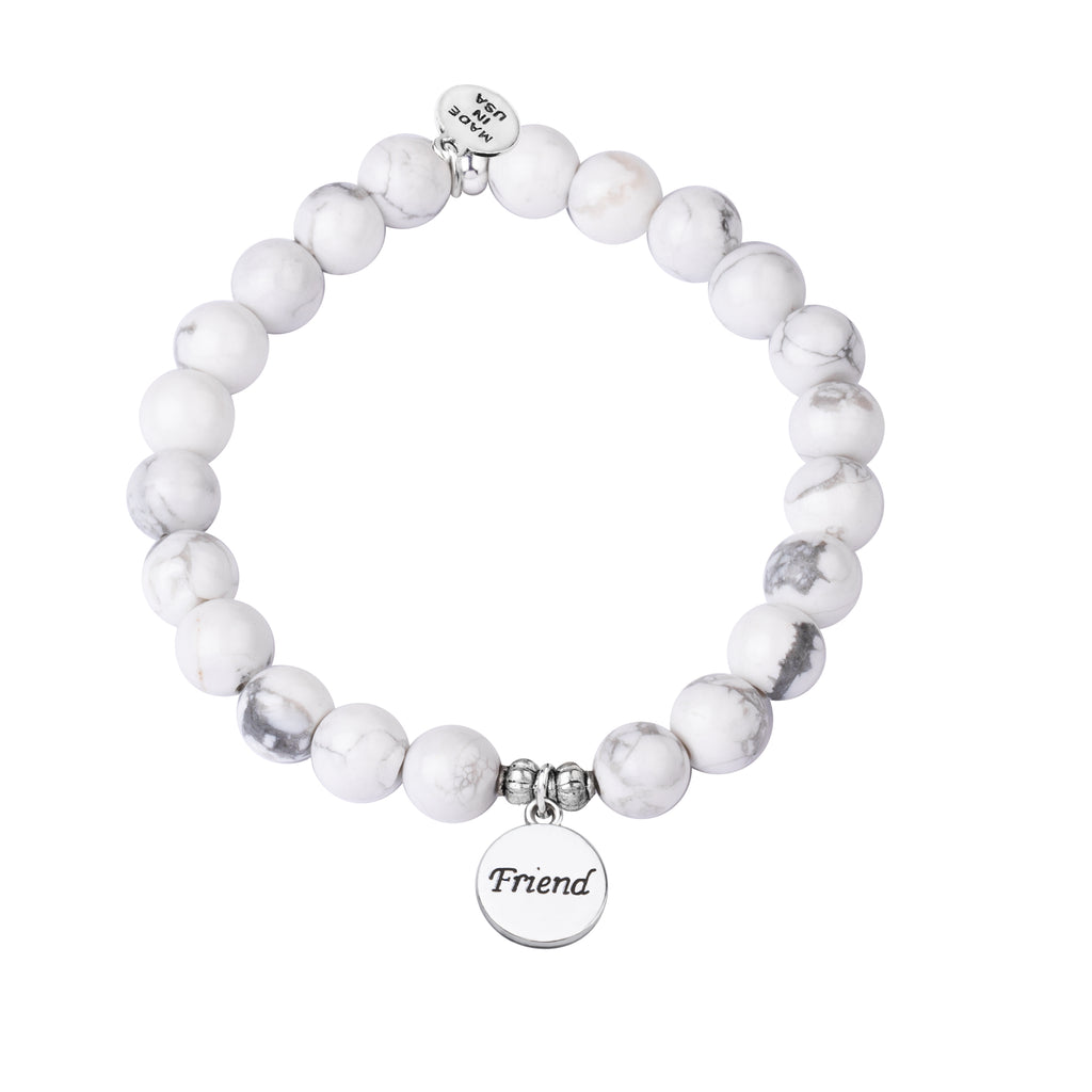 Friend | Stone Beaded Charm Bracelet | Howlite