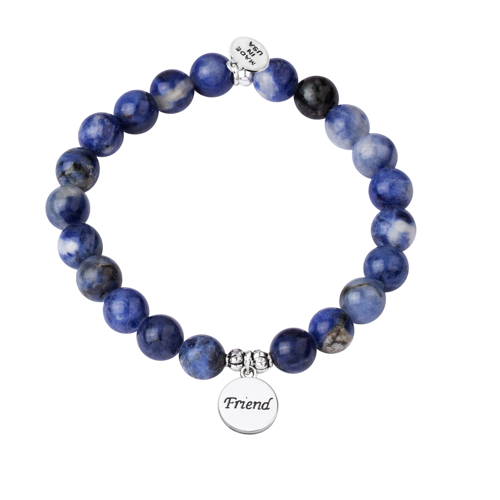Friend | Stone Beaded Charm Bracelet | Sodalite