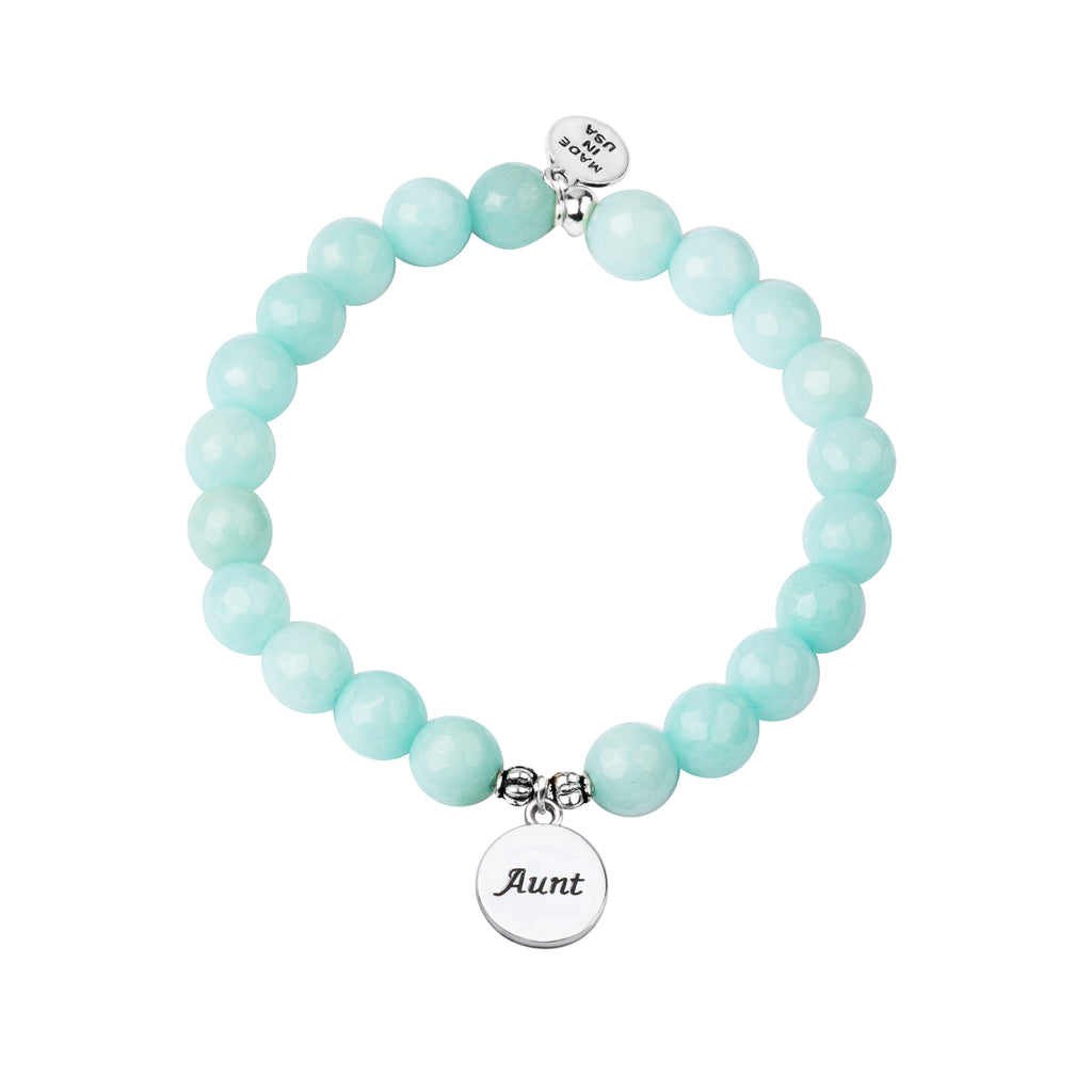 Aunt | Stone Beaded Charm Bracelet | Tiffany Blue Agate