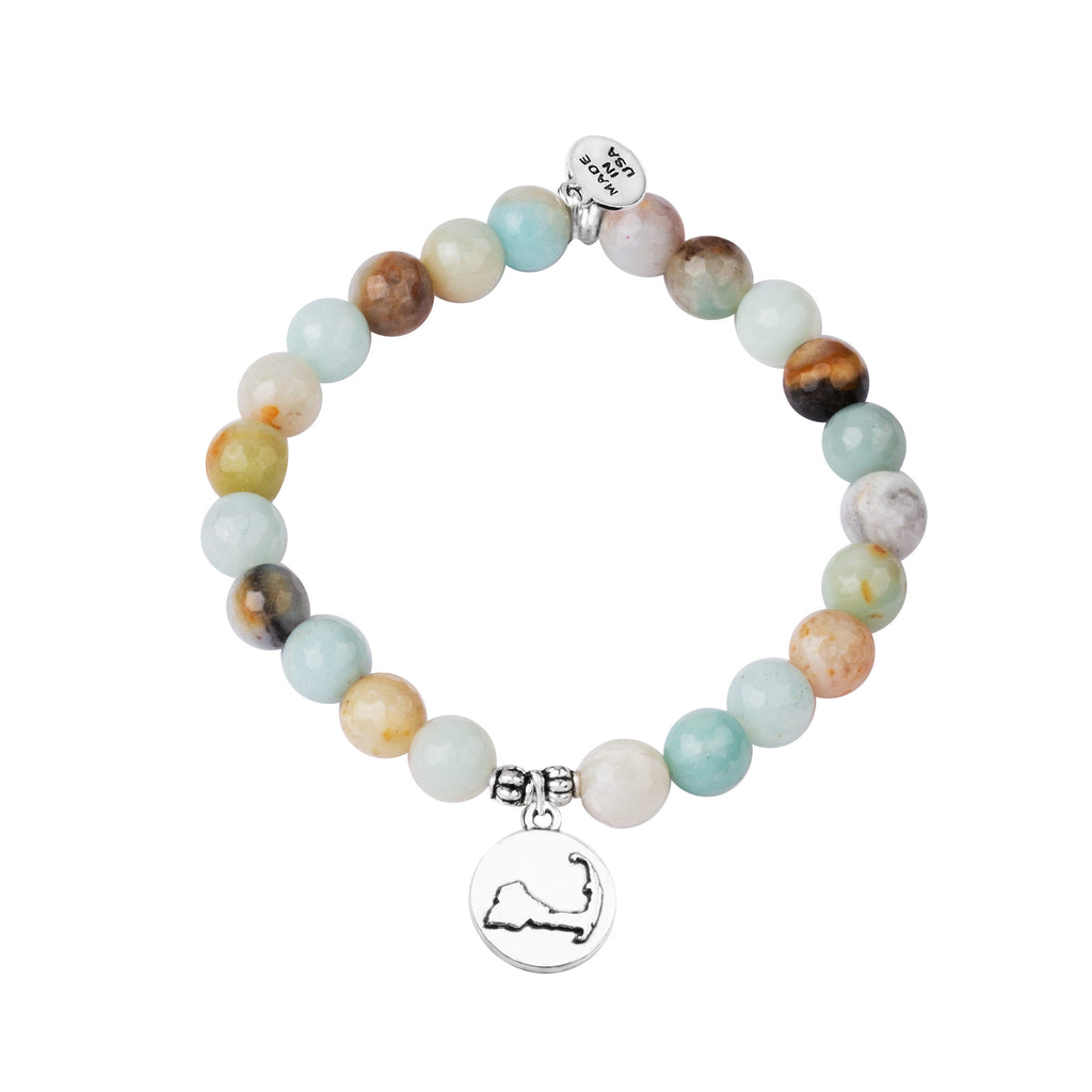 Cape Cod | Stone Beaded Charm Bracelet | Amazonite