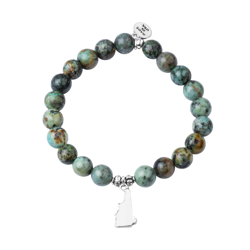 New Hampshire | Stone Beaded Charm Bracelet | African Turquoise-Prosperity