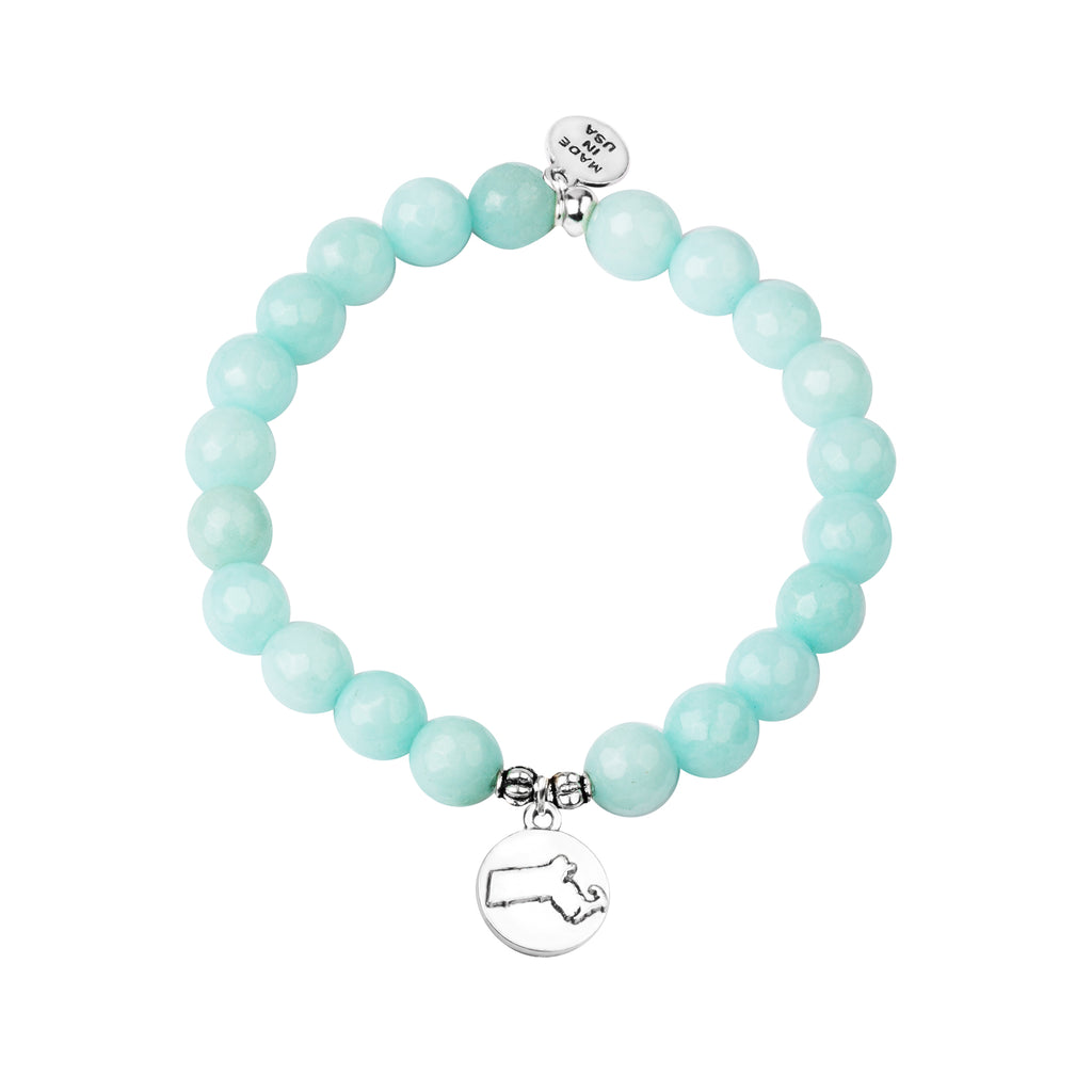 Massachusetts | Stone Beaded Charm Bracelet | Tiffany Blue - Prosperity