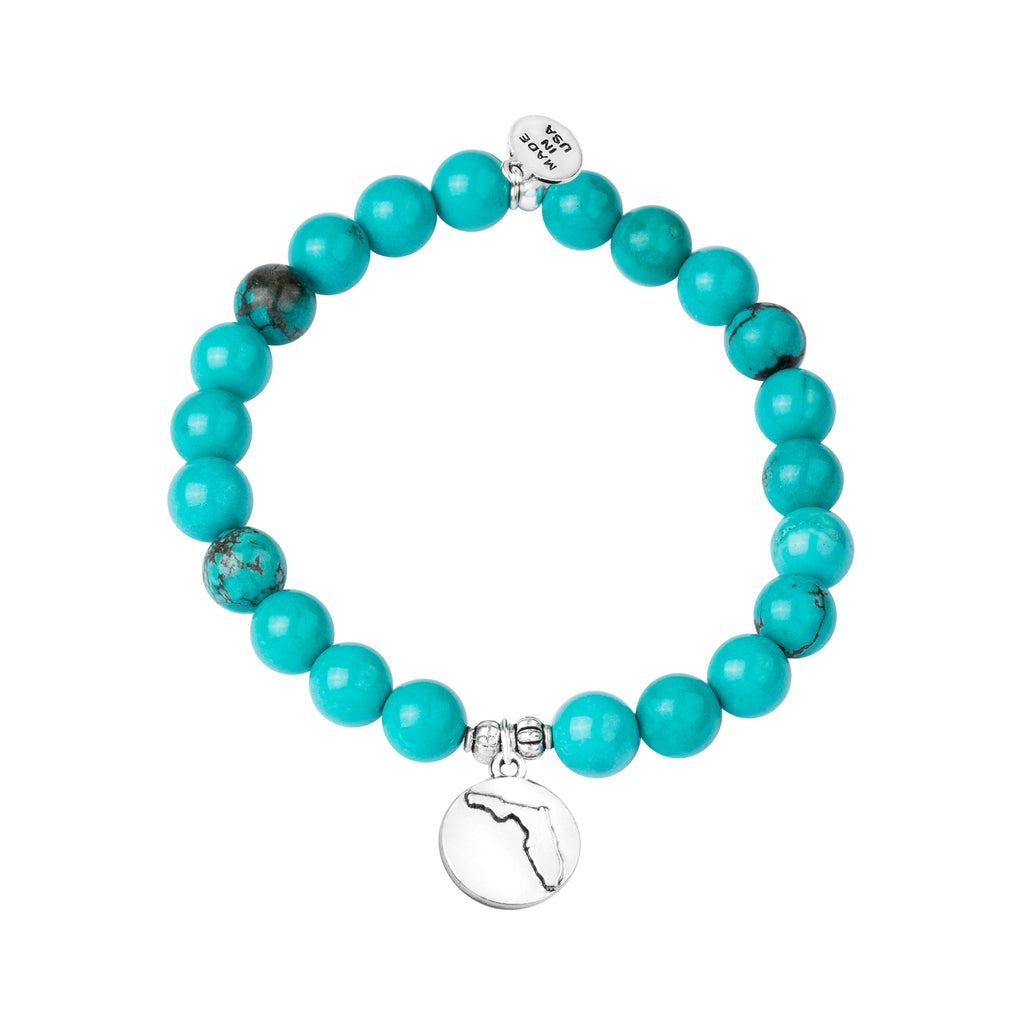 Florida | Stone Beaded Charm Bracelet | Turquoise - Protection