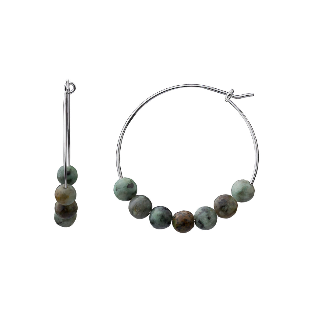 Earring | Stone Hoop | African Turquoise