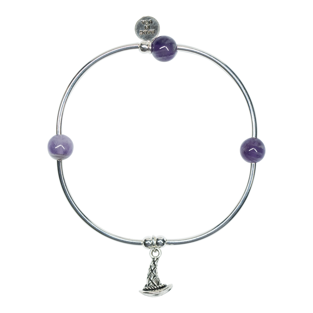 Witch Hat | Soft Bangle Charm Bracelet | Amethyst
