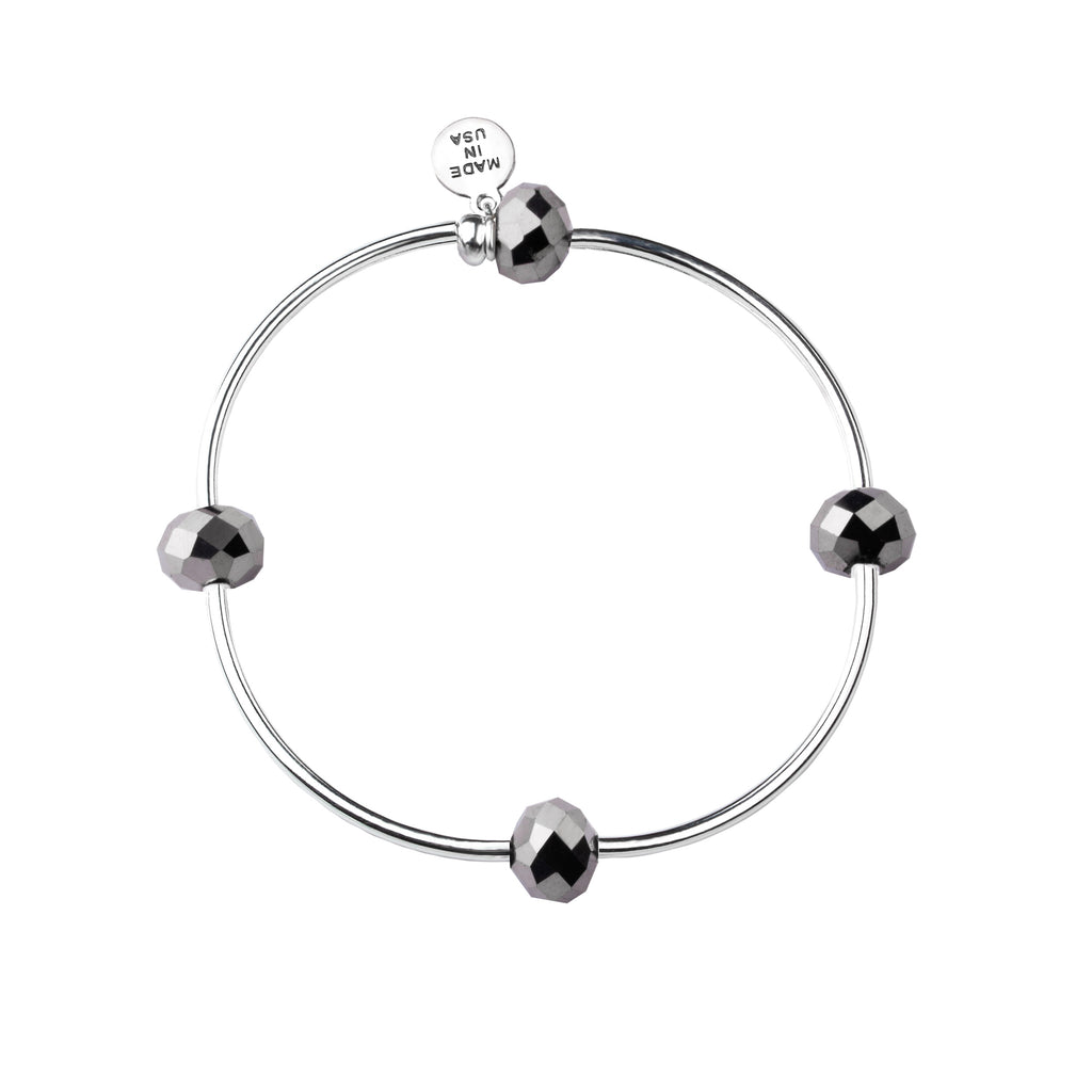 Wish | Bracelet | Gunmetal - Crystal