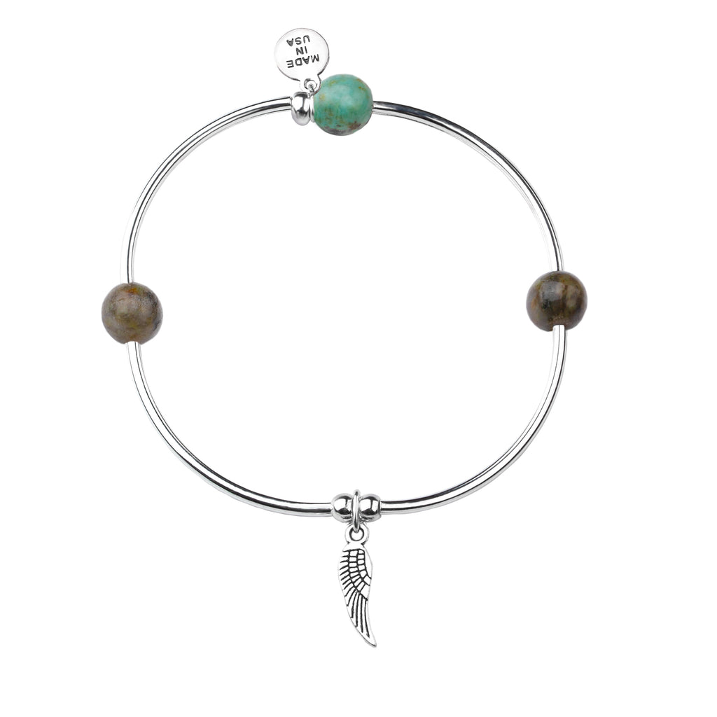 Angel Wing | Soft Bangle Charm Bracelet | African Turquoise