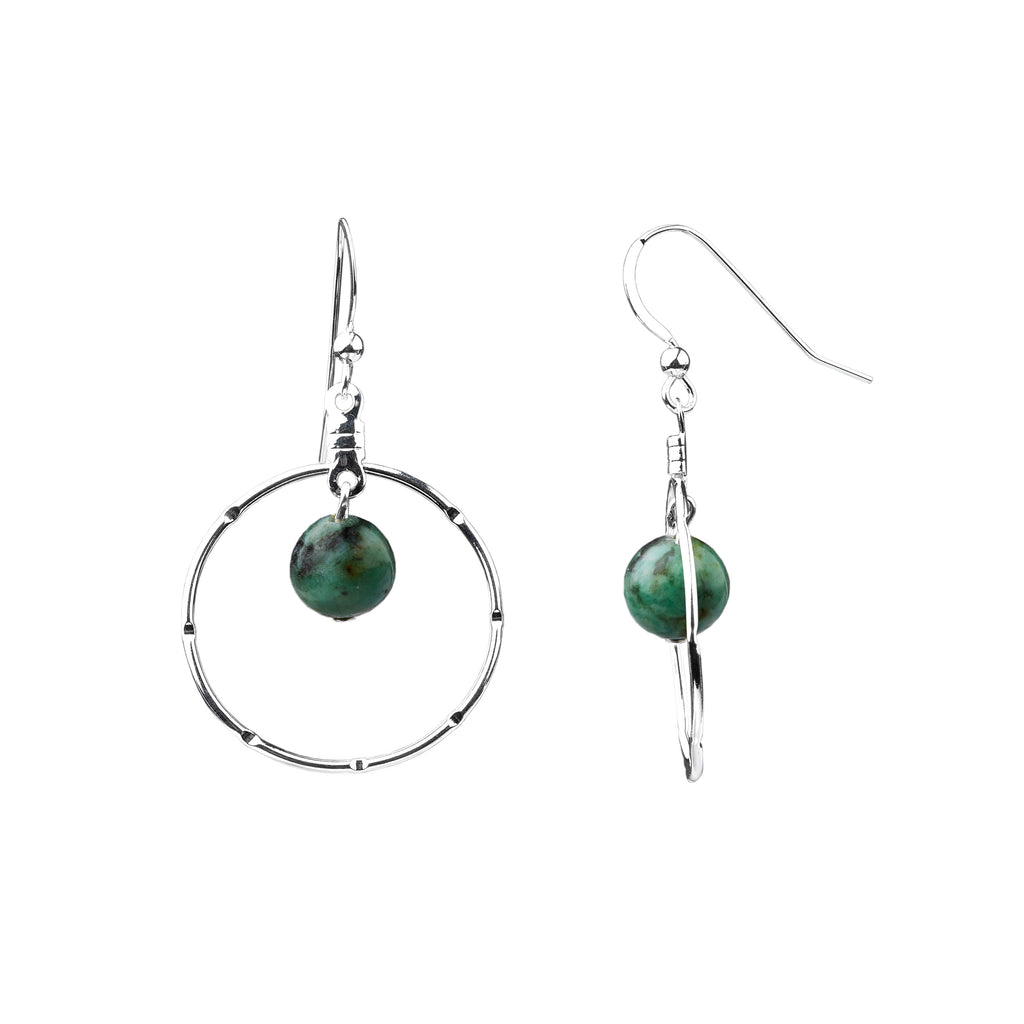 Earring | Notched Hoop | African Turquoise