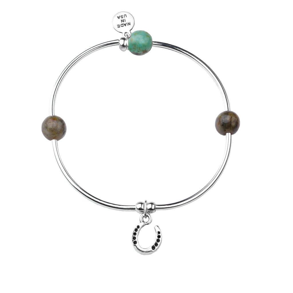 Horseshoe | Soft Bangle Charm Bracelet | African Turquoise