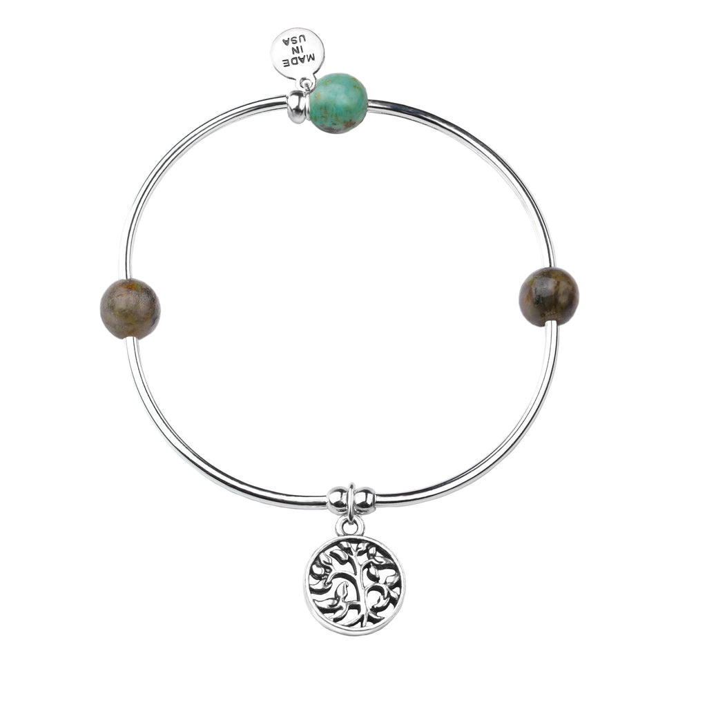 Tree of Life | Soft Bangle Charm Bracelet | African Turquoise