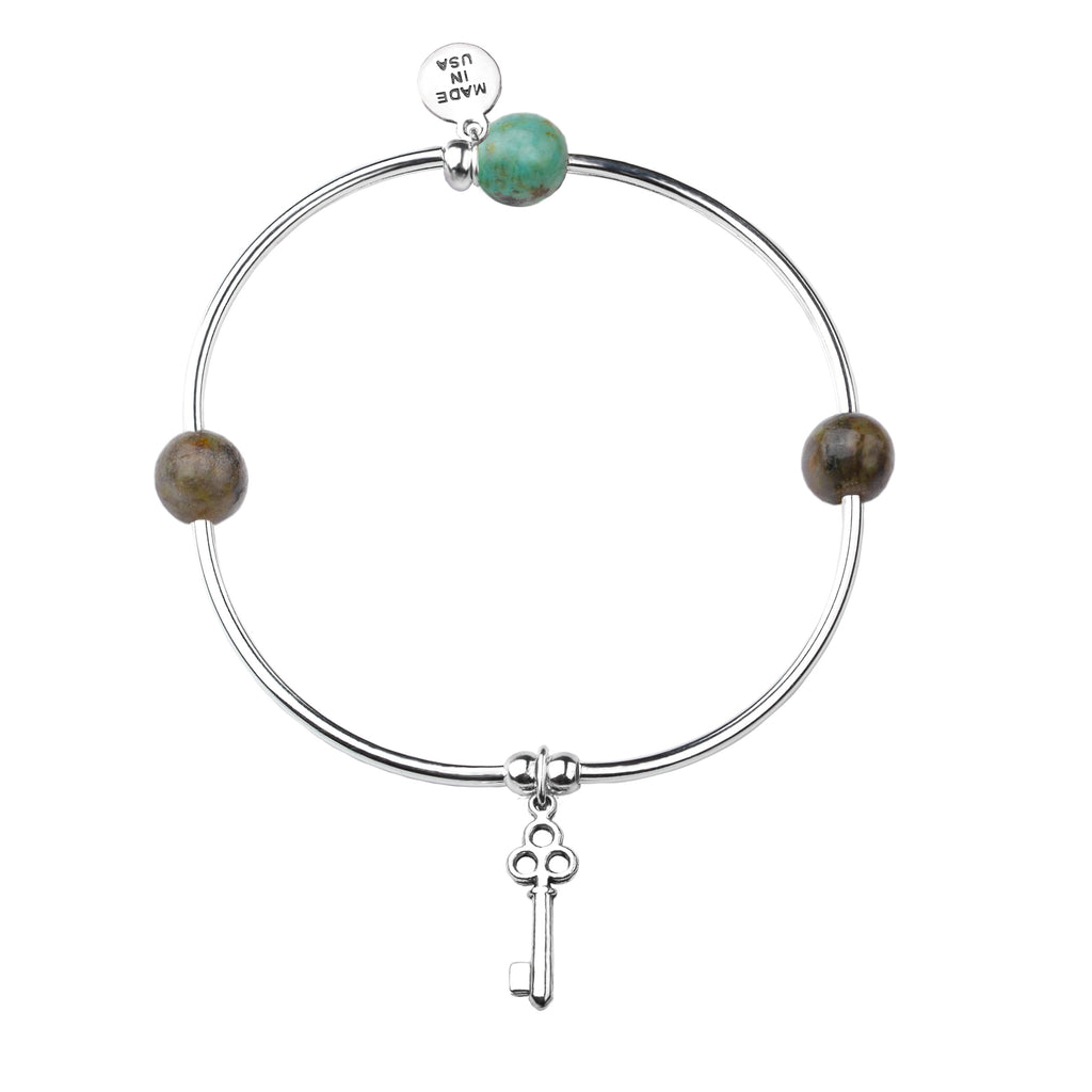 Key | Soft Bangle Charm Bracelet |  African Turquoise