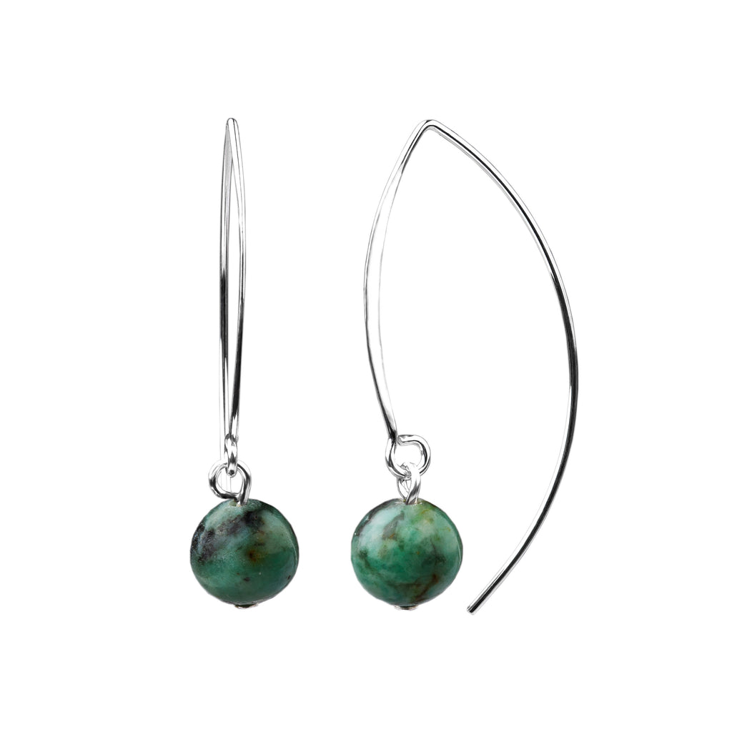 Earring | V Wire - Large  | African Turquoise