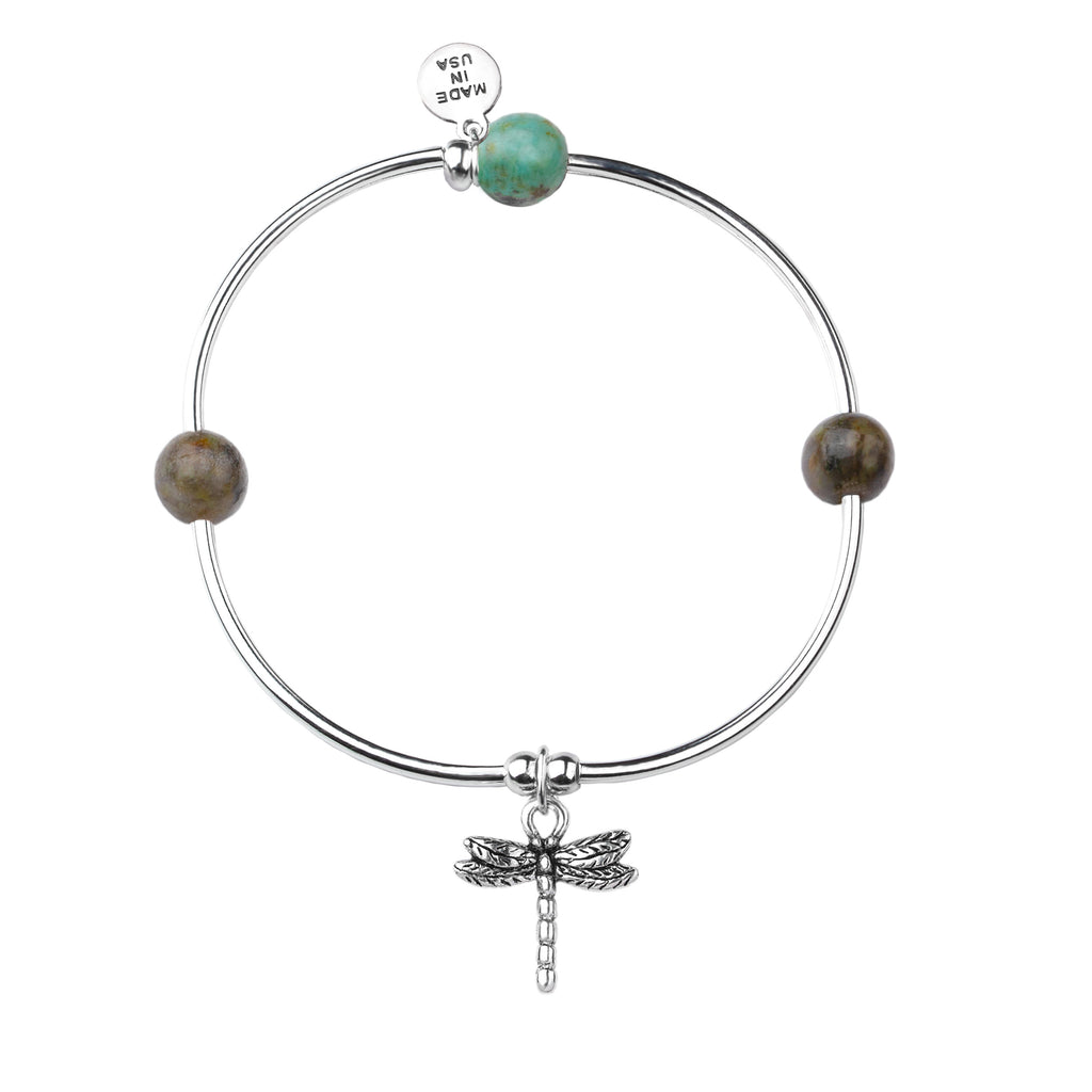 Dragonfly | Soft Bangle Charm Bracelet |  African Turquoise