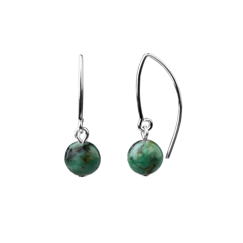 Earring | V Wire - Small  | African Turquoise