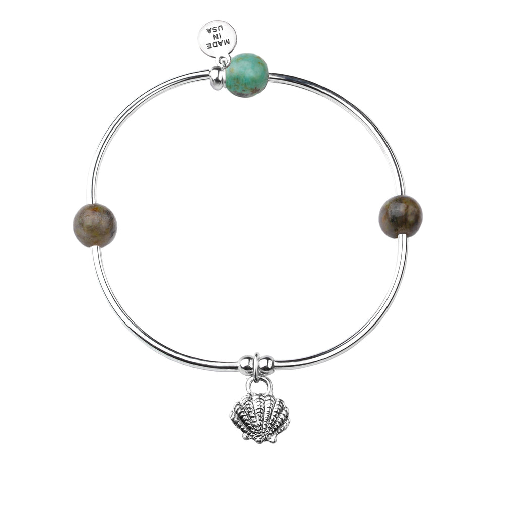 Shell | Soft Bangle Charm Bracelet | African Turquoise