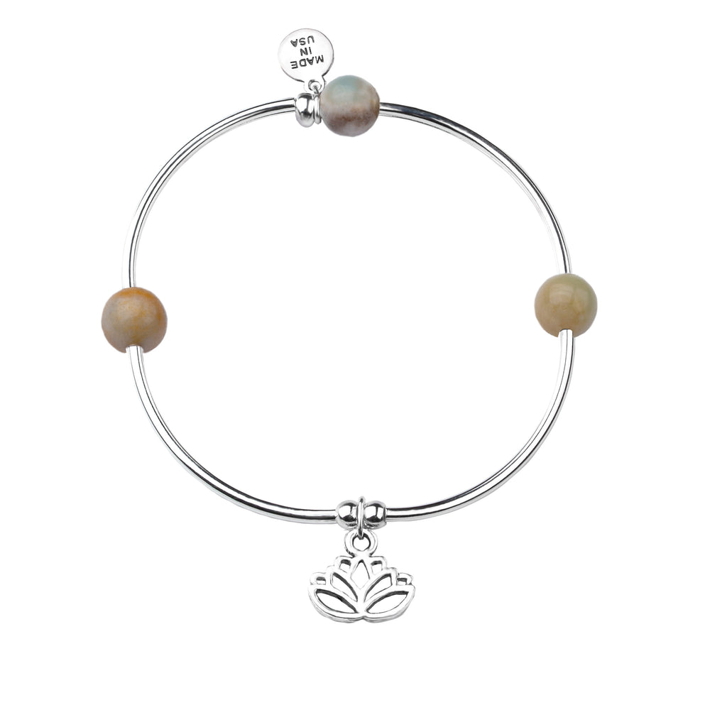 Lotus | Soft Bangle Charm Bracelet | Amazonite