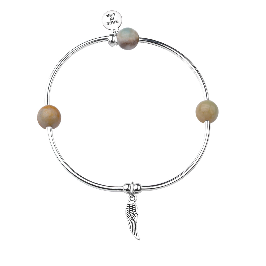Angel Wing | Soft Bangle Charm Bracelet | Amazonite