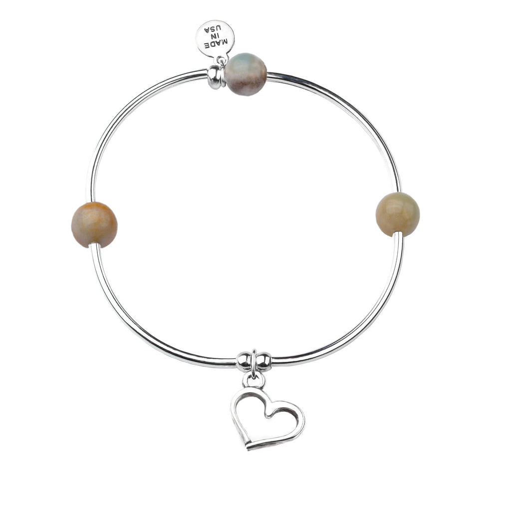 Heart | Soft Bangle Charm Bracelet | Amazonite