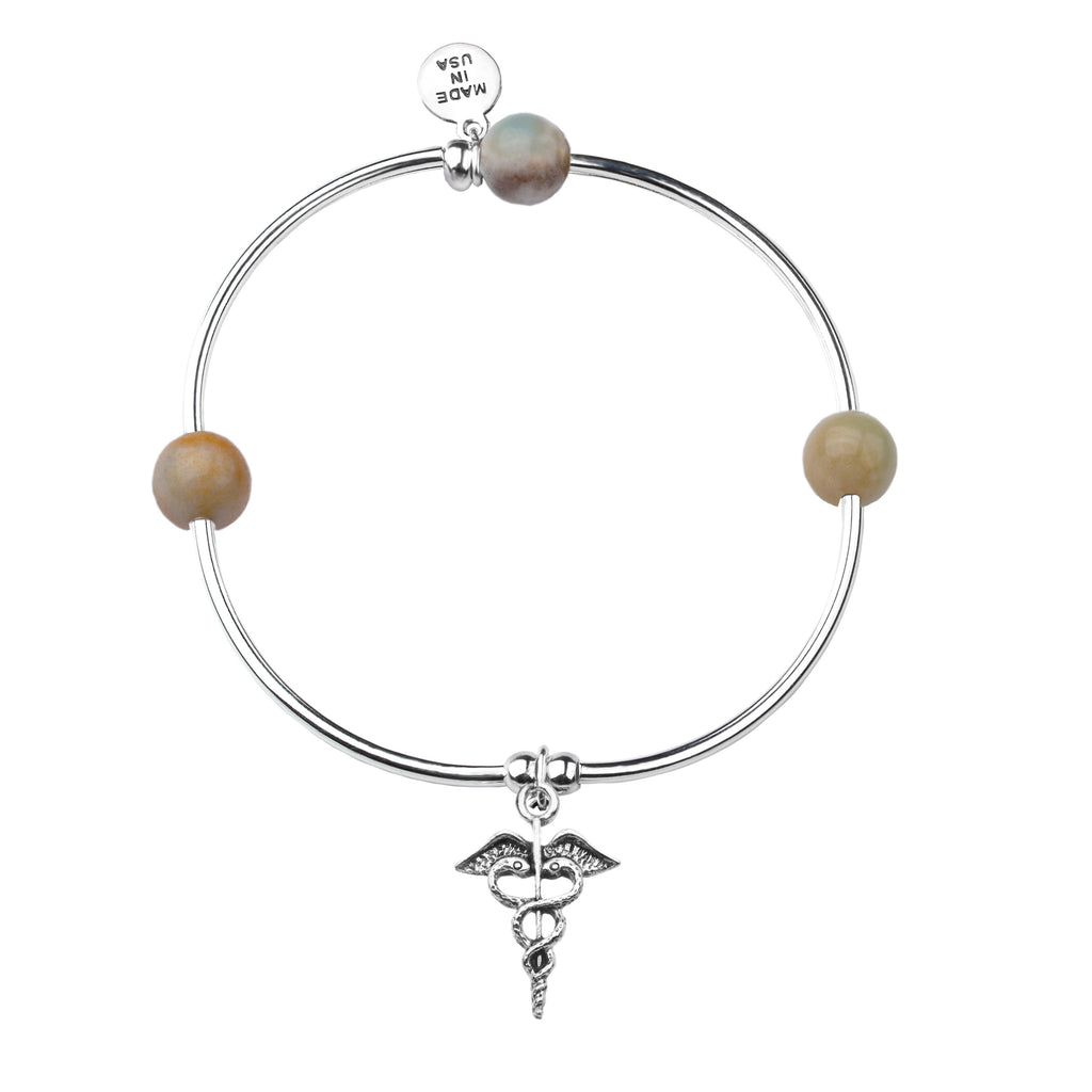 Caduceus (Medical Symbol) | Soft Bangle Charm Bracelet | Amazonite
