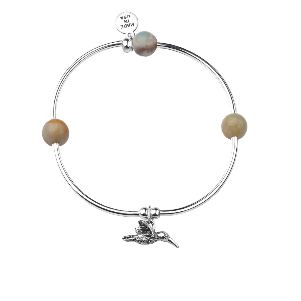 Hummingbird | Soft Bangle Charm Bracelet |  Amazonite