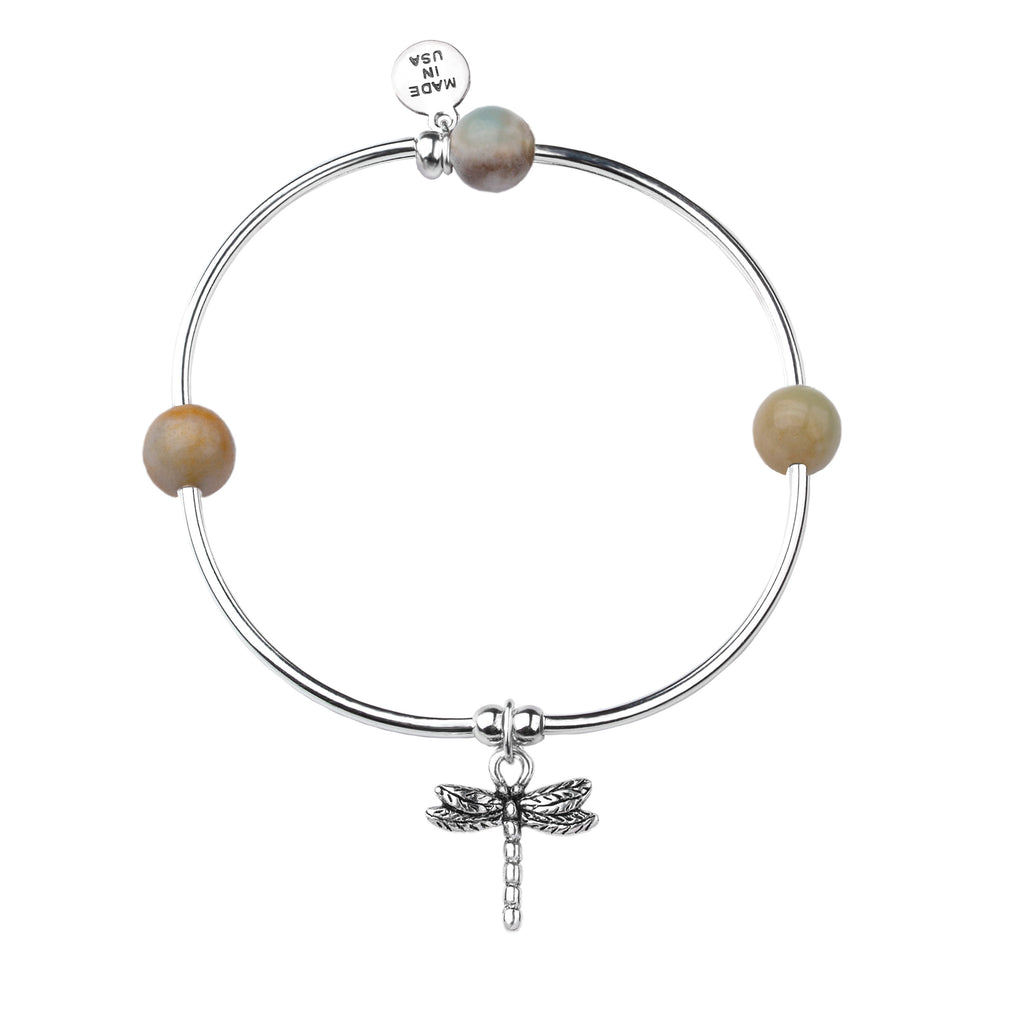 Dragonfly | Soft Bangle Charm Bracelet |  Amazonite