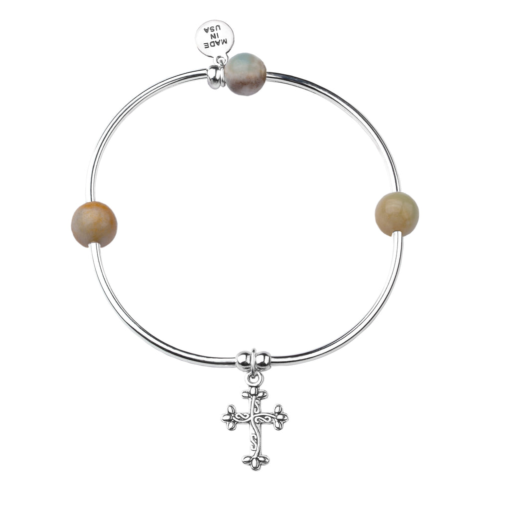 Cross | Soft Bangle Charm Bracelet | Amazonite