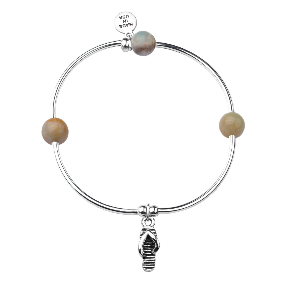 Flip Flop | Soft Bangle Charm Bracelet | Amazonite