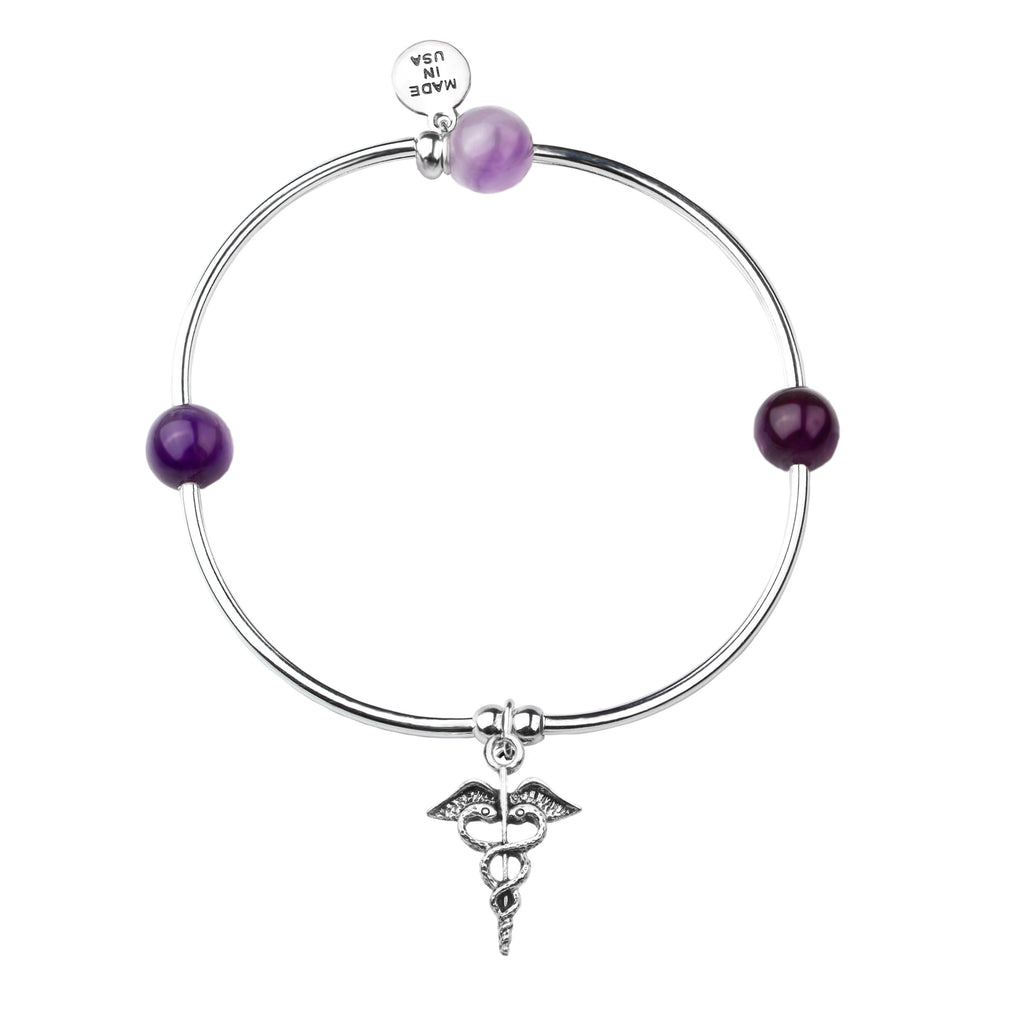 Caduceus (Medical Symbol) | Soft Bangle Charm Bracelet | Amethyst