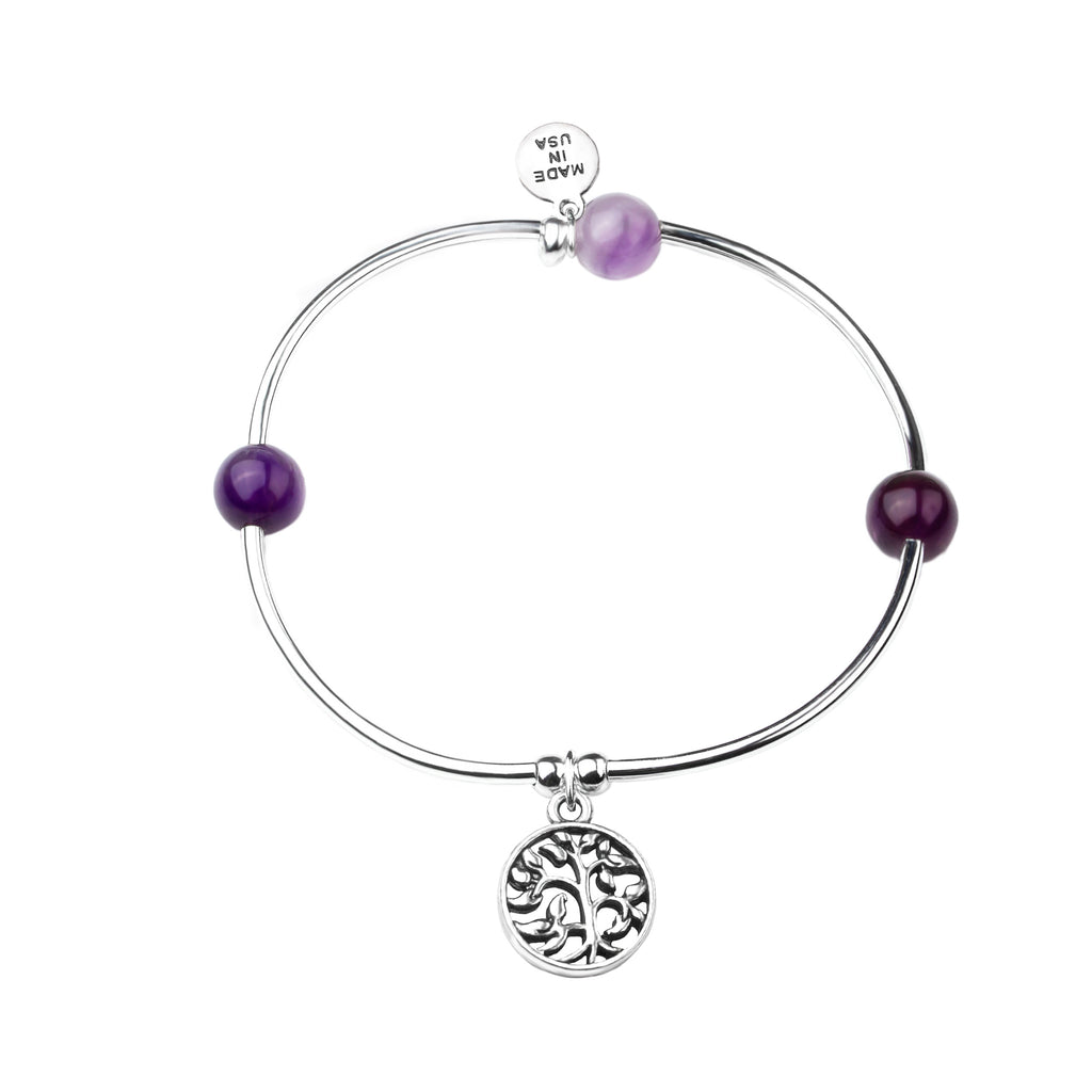 Tree of Life | Soft Bangle Charm Bracelet | Amethyst