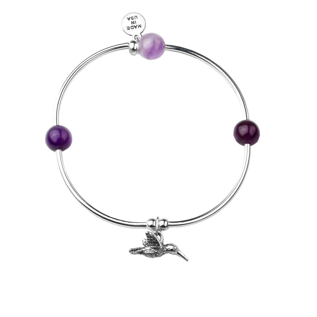 Hummingbird | Soft Bangle Charm Bracelet |  Amethyst