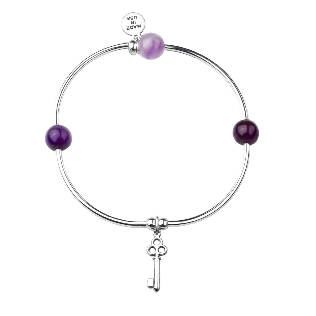 Key | Soft Bangle Charm Bracelet |  Amethyst