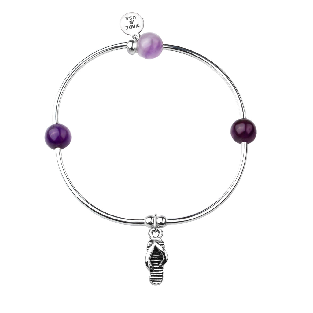 Flip Flop | Soft Bangle Charm Bracelet | Amethyst
