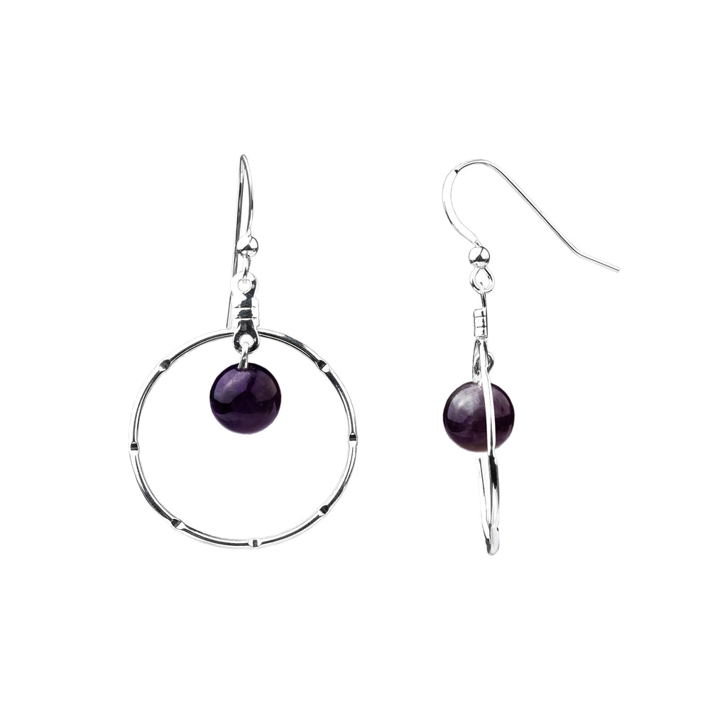 Earring | Notched Hoop | Amethyst