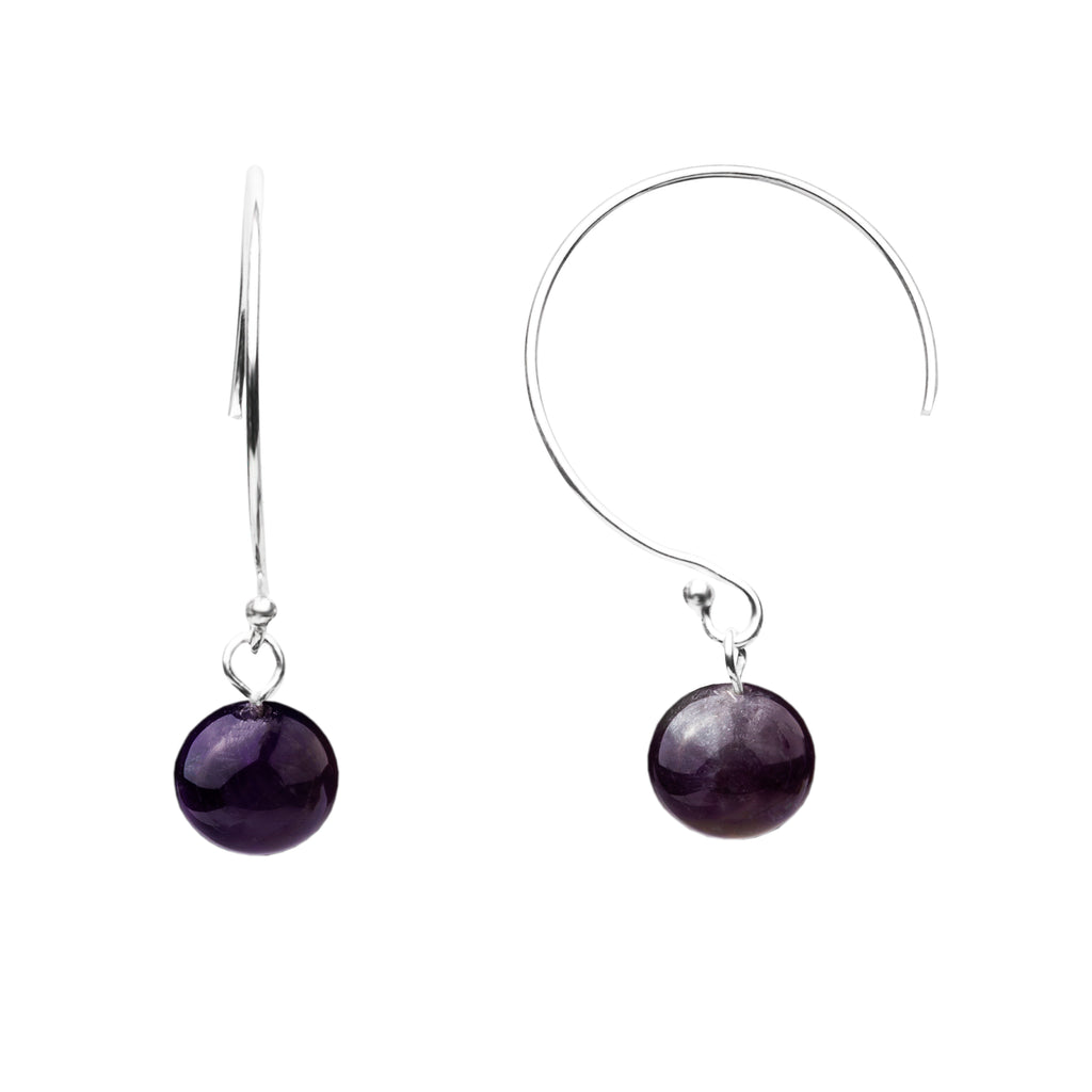 Earring | Curved Loop | Amethyst