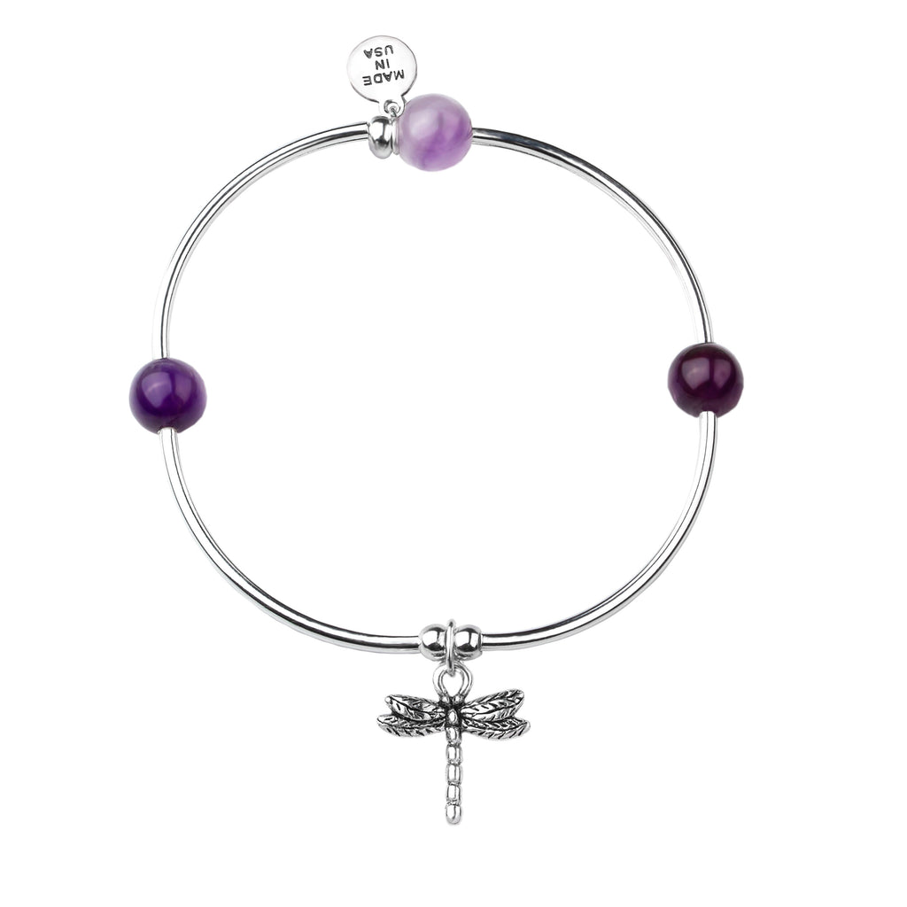 Dragonfly | Soft Bangle Charm Bracelet |  Amethyst