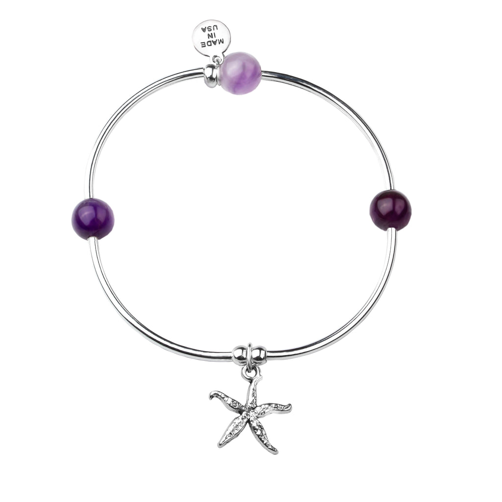 Starfish | Soft Bangle Charm Bracelet | Amethyst
