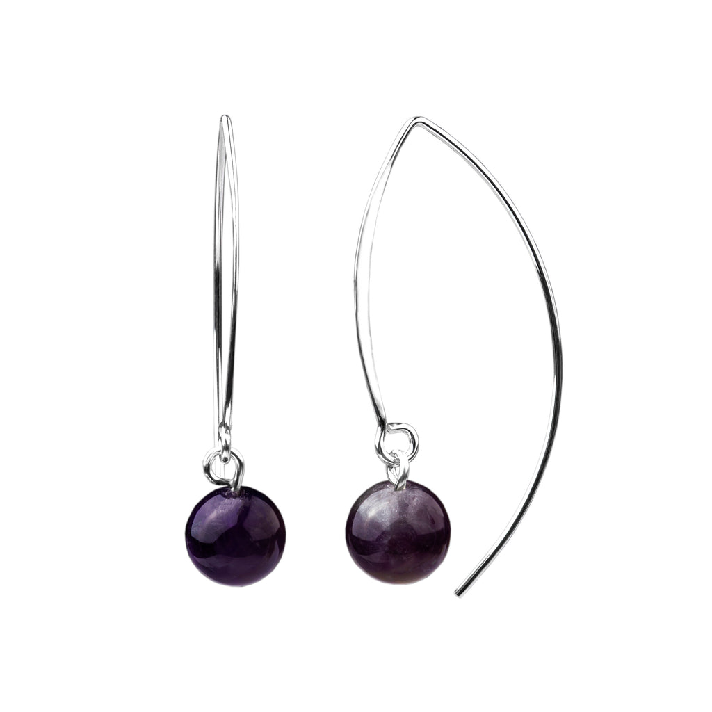 Earring | V Wire - Large  | Amethyst
