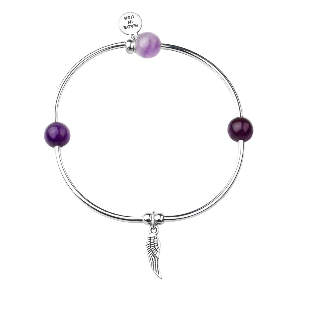 Angel Wing | Soft Bangle Charm Bracelet | Amethyst