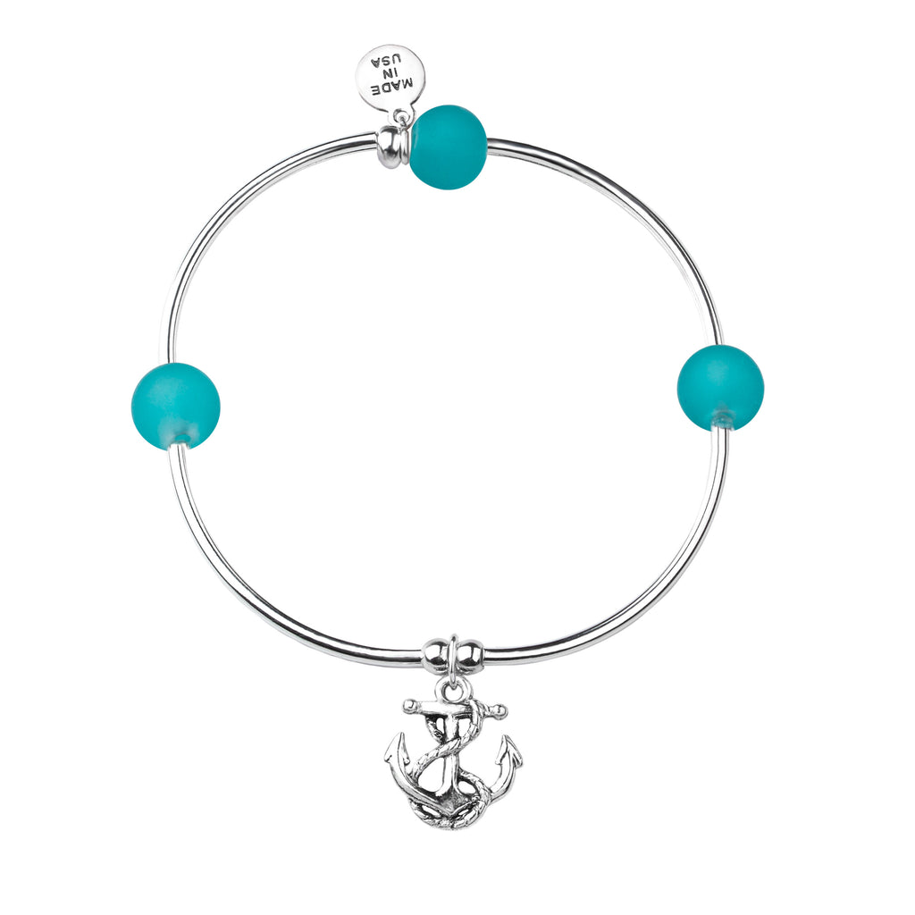 Anchor - Sea Glass | Soft Bangle Charm Bracelet | Mediterranean Blue