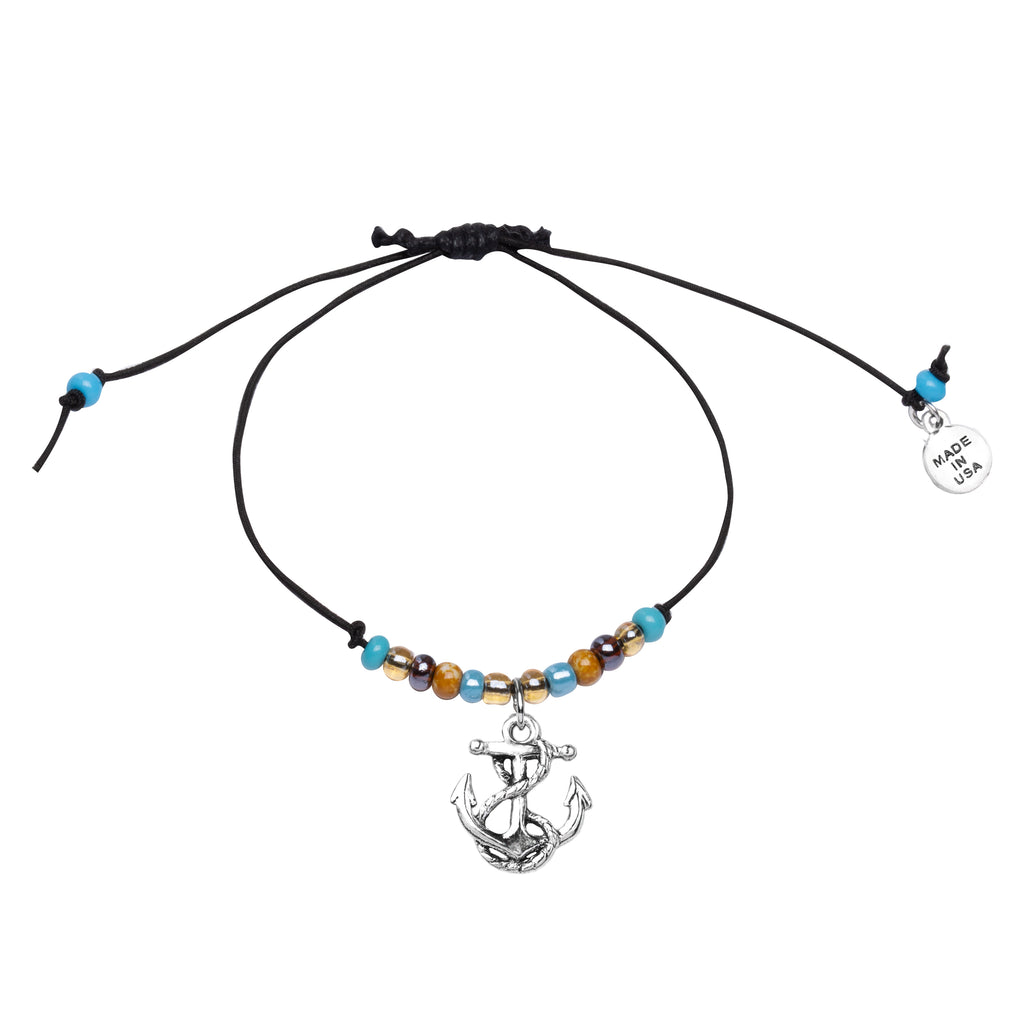 Anklet-Black Cord Adjustable  | Anchor