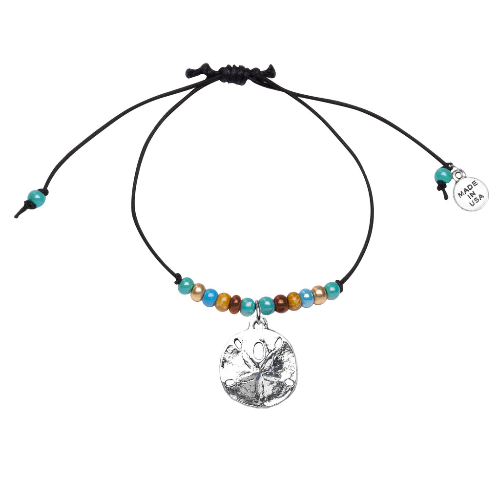 Anklet-Black Cord Adjustable  | Sand Dollar