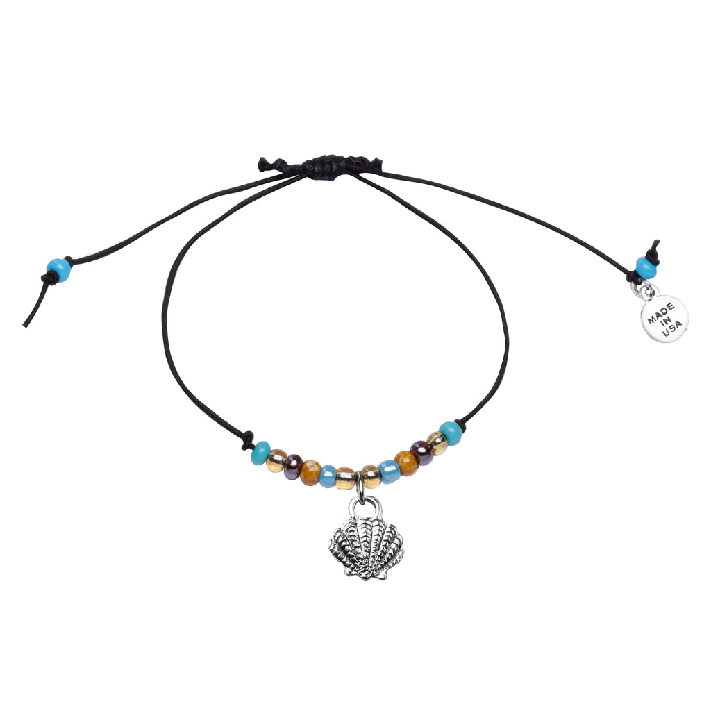Anklet-Black Cord Adjustable  | Shell