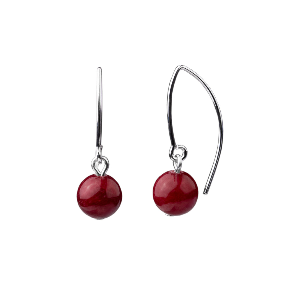 Earring | V Wire - Small  | Bordeaux Jade