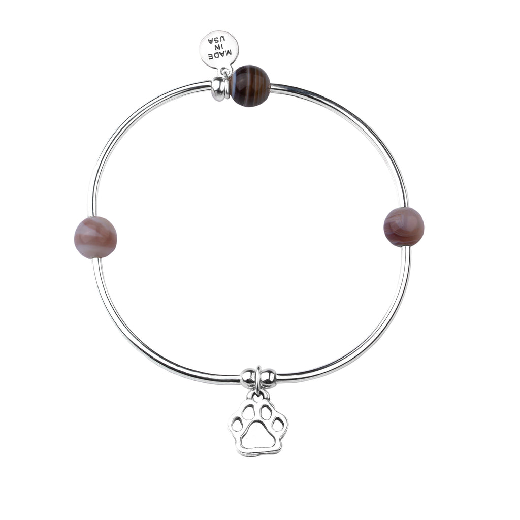Paw Print | Soft Bangle Charm Bracelet | Botswana