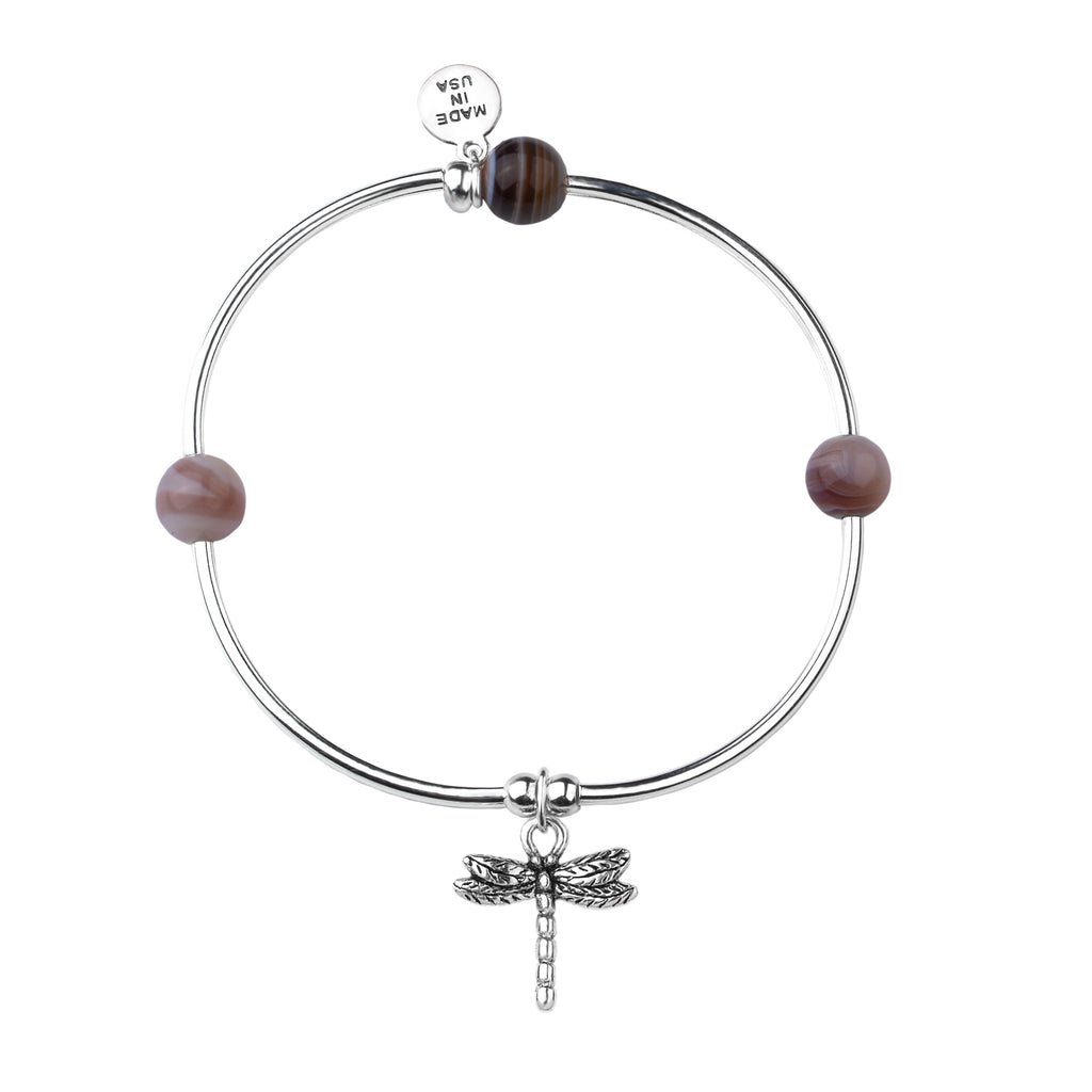Dragonfly | Soft Bangle Charm Bracelet |  Botswana