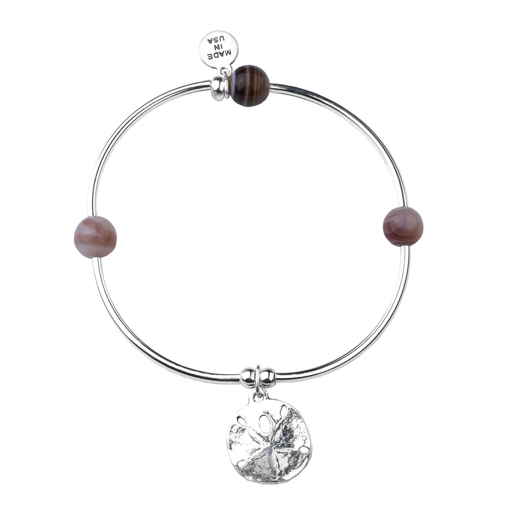 Sand Dollar | Soft Bangle Charm Bracelet | Botswana