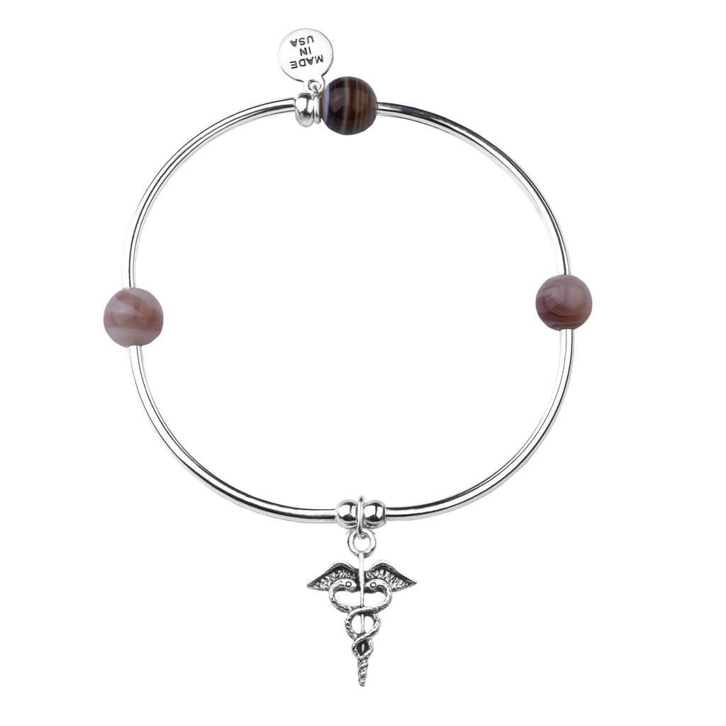 Caduceus (Medical Symbol) | Soft Bangle Charm Bracelet | Botswana