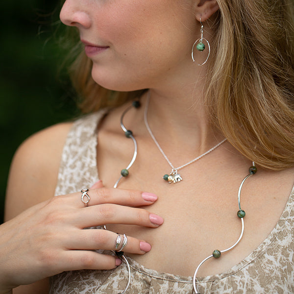 Anchor | Cluster Necklace | Sterling Silver