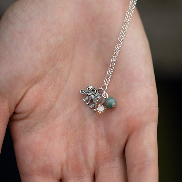 Elephant | Cluster Necklace | Sterling Silver